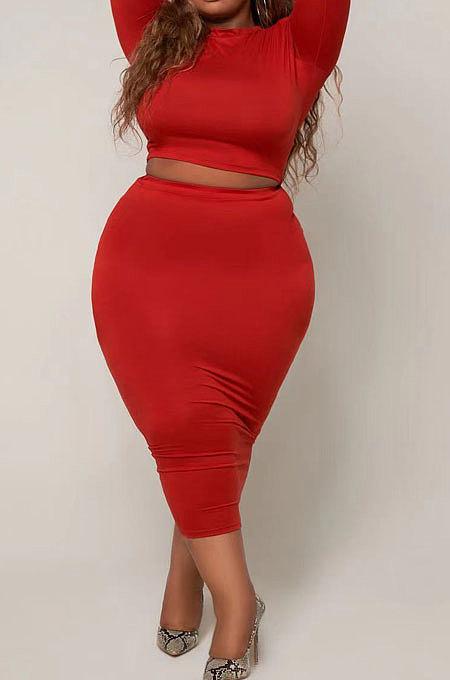 Black Big Yards Fat Women Long Sleeve Round Neck T-Shirts Long Skirts Plain Color Sets S66308-1