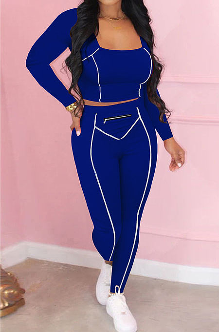 Blue Fashion Stripe Spliced Long Sleeve Square Neck Bodycon Tops Pencli Pants Sets MD383-4