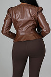 Brown Fashion New Flocking Leather Long Sleeve V Collar Front Button Collect Waist Tops LWW9326-2