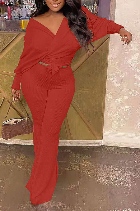 Red Fashion Pure Color Ribber Loose Bowknot Casual Pants Sets AMN8029-3