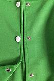 Green Women Autumn Winter Fashion Snap Fastener Double Ribber Baseball Uniform Bodycon Jacket AA5273-1