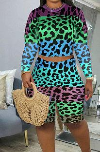 Blue Green Leopard Printing Long Sleeve O Neck High Waist Shorts Fashion Two-Piece XMC6053-1