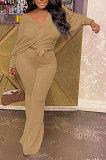 White Fashion Pure Color Ribber Loose Bowknot Casual Pants Sets AMN8029-1