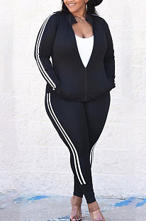 Black Autumn Winter Fat Women Side Stripe Spliced Long Sleeve Zipper Tops Skinny Pants Sports Sets MK062-2