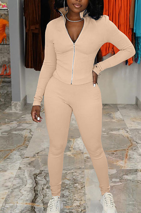 Apricot Simple Pure Color Long Sleeve Stand Neck Zipper Tops Pencil Pants  Sports Sets TK6202-5