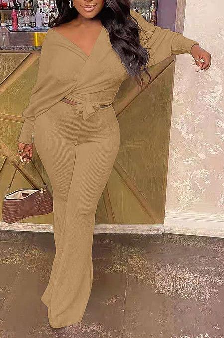Khaki Fashion Pure Color Ribber Loose Bowknot Casual Pants Sets AMN8029-5