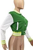 Red Women Autumn Winter Fashion Snap Fastener Double Ribber Baseball Uniform Bodycon Jacket AA5273-4