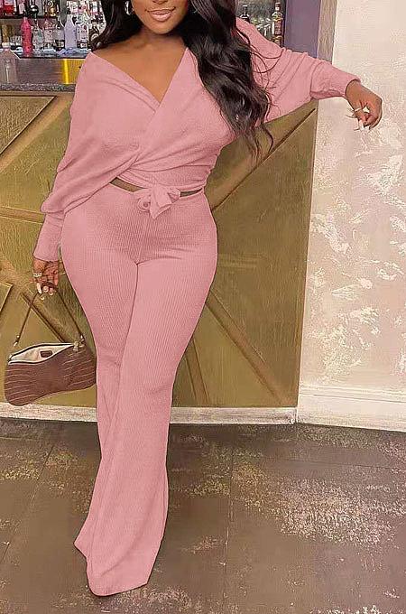 Pink Fashion Pure Color Ribber Loose Bowknot Casual Pants Sets AMN8029-2