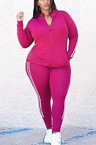 Rose Red Autumn Winter Fat Women Side Stripe Spliced Long Sleeve Zipper Tops Skinny Pants Sports Sets MK062-3