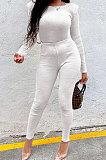 White New Women's Ribber Elastic Long Sleeve Round Neck Tops Pencil Pants Plain Color Sets SM9211-2