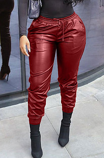 Wine Red New Pure Color Elasticband Leather Pants CL6100-5