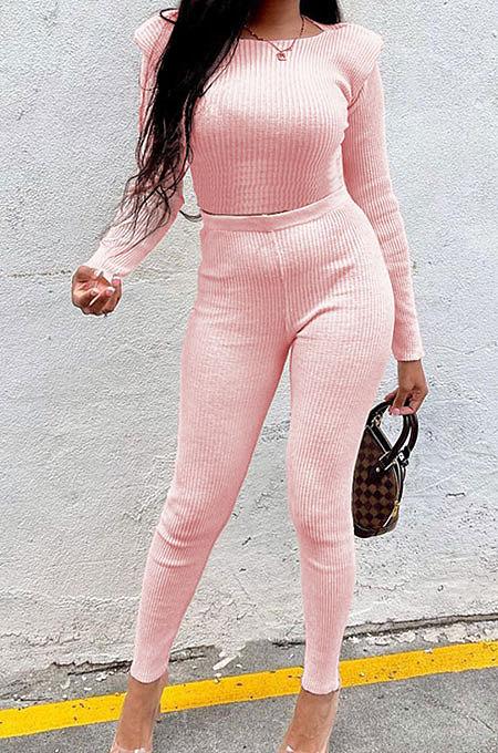 Pink New Women's Ribber Elastic Long Sleeve Round Neck Tops Pencil Pants Plain Color Sets SM9211-1