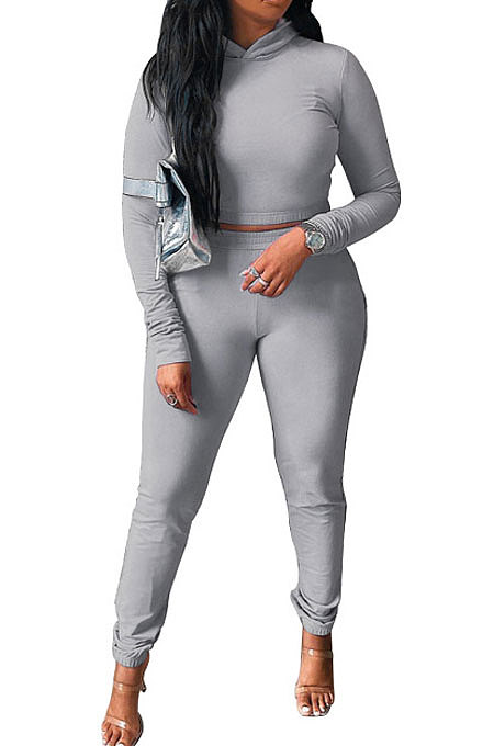 Gray Women Pure Color Long Sleeve Hoodede Tops Bodycon Pants Sets ANK06029-2