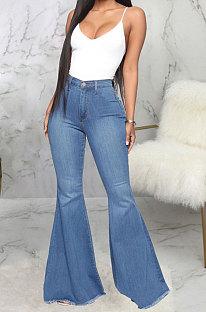 Blue Fashion High Waist Elastic Jean Flare Pants SMR2599-4