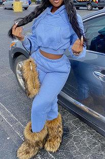 Blue Euramerican Women Fashion Pure Color Velvet Hoodde Fleece Pants Sets AA5285-1
