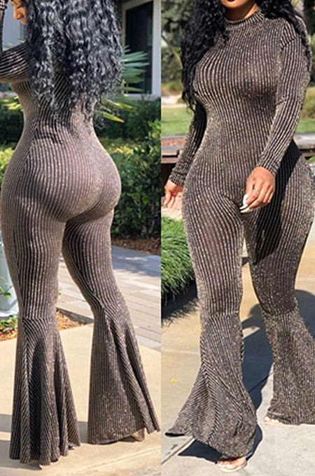 Grey Black Fashion Stripe Bright Side Long Sleeve O Neck Collect  Waist Plain Color Flare Jumpsuits CL6039-2