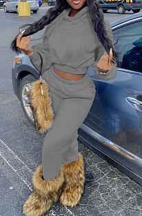 Gray Euramerican Women Fashion Pure Color Velvet Hoodde Fleece Pants Sets AA5285-3
