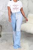 Ligth Blue Casual Spliced Elastic Jean Flare Pants SMR2389-1