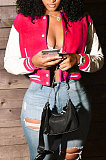 Purple Women Autumn Winter Fashion Snap Fastener Double Ribber Baseball Uniform Bodycon Jacket AA5273-10