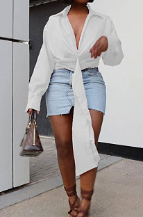 White Club Ruffle Long Sleeve Deep V Neck Solid Color Casual Shirts SMD82085-3