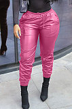 Pink New Pure Color Elasticband Leather Pants CL6100-3