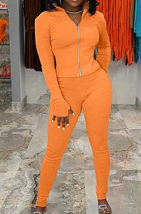 Orange Simple Pure Color Long Sleeve Stand Neck Zipper Tops Pencil Pants  Sports Sets TK6202-4