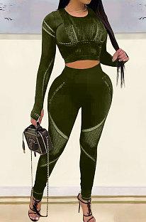 Army Green Fashion Positioning Printing Casual Tight Pants Sets AMN8030-3