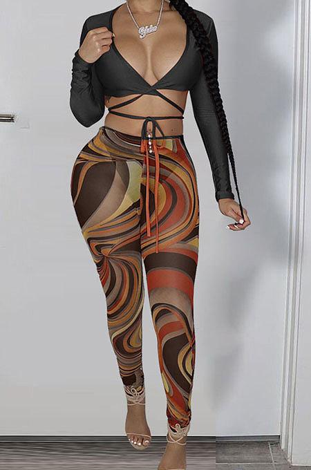 Black Sexy Club Long Sleeve Low-Cut  Bandage Crop Tops Printing Skinny Pants Sets S66317-4