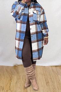 Wholesale Plaid Long Sleeve Lapel Neck Single-Breasted Woolen Coat MTY6582