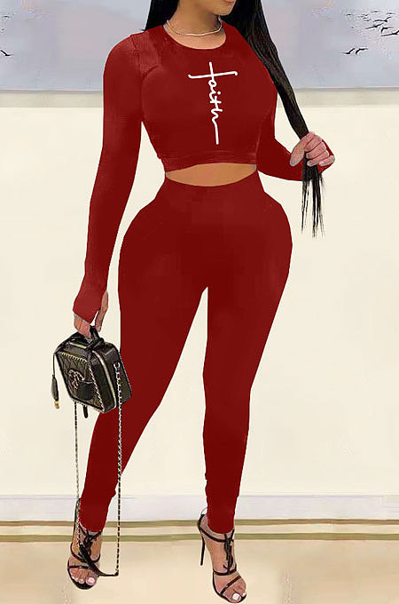 Drak Red Woemn Solid Color Long Sleeve Printing Tight Pants Sets AMN8031-3