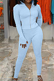 Ligth Blue Simple Pure Color Long Sleeve Stand Neck Zipper Tops Pencil Pants  Sports Sets TK6202-1