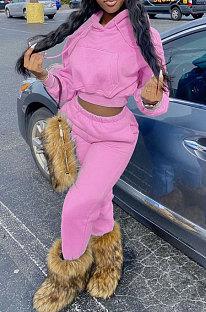 Pink Euramerican Women Fashion Pure Color Velvet Hoodde Fleece Pants Sets AA5285-2