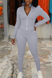 Grey Simple Pure Color Long Sleeve Stand Neck Zipper Tops Pencil Pants  Sports Sets TK6202-2