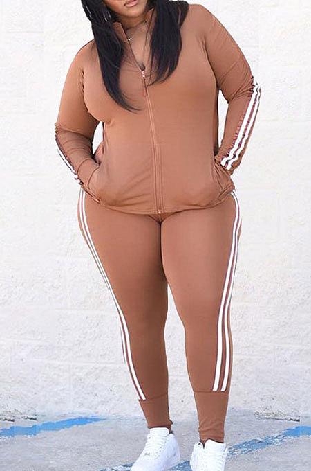 Coffee Autumn Winter Fat Women Side Stripe Spliced Long Sleeve Zipper Tops Skinny Pants Sports Sets MK062-1