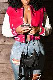 Rose Red Women Autumn Winter Fashion Snap Fastener Double Ribber Baseball Uniform Bodycon Jacket AA5273-12