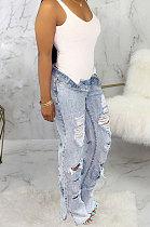 Light Blue Personality Hole Autumn Jean Straight Leg Pants SMR2062-2