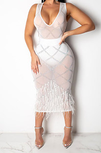 White Women Mesh Spaghetti Hot Drilling Chicken Feather Perspectivity Sexy V Collar Sleeveless Mid Dress CCY8105-1
