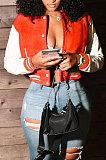 Pink Women Autumn Winter Fashion Snap Fastener Double Ribber Baseball Uniform Bodycon Jacket AA5273-6