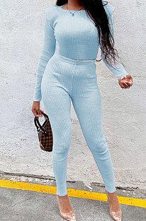 Light Blue New Women's Ribber Elastic Long Sleeve Round Neck Tops Pencil Pants Plain Color Sets SM9211-3