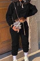 Black Winter Long Sleeve Loose Velvet Hoodie Trousers Solid Color Sports Sets TK6201-4