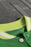 Gray Women Autumn Winter Fashion Snap Fastener Double Ribber Baseball Uniform Bodycon Jacket AA5273-3