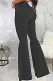 Black Fashion High Waist Elastic Jean Flare Pants SMR2599-1