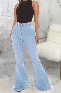 Light Blue Fashion High Waist Elastic Jean Flare Pants SMR2599-3
