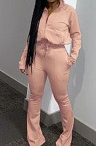 Apricot Casual Solid Color Long Sleeve Zipper Loose Coat Mid Waist Flare Pants Sports Sets WA7115-2