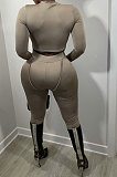 Black Women Fashion Bodycon Long Sleeve Round Collar Solid Color Pants Sets AA5284-1