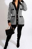White Fashion Plaid Printing Long Sleeve V Neck Single-Breasted Cardigan Coat SM9212-3