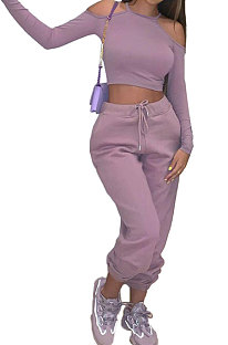 Pink Purple Sexy Pure Color Off Shoulder Long Sleeve Crop Tops Trousers Casual Sets MK063-2