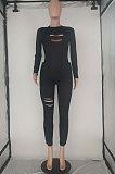 Black Wholesale Women's Long Sleeve O Neck Hole Slim Fitting Lock Seam Bodycon Jumpsuits SDE29132-2