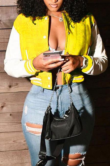 Yellow Women Autumn Winter Fashion Snap Fastener Double Ribber Baseball Uniform Bodycon Jacket AA5273-5