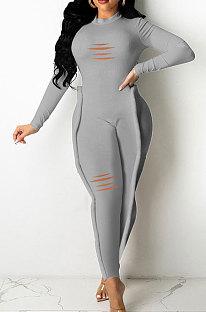 Grey Wholesale Women's Long Sleeve O Neck Hole Slim Fitting Lock Seam Bodycon Jumpsuits SDE29132-4